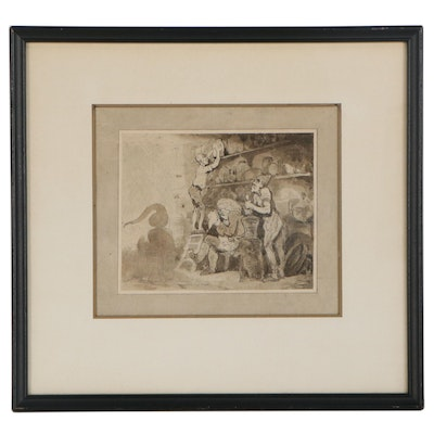 Thomas Rowlandson Ink and Wash Drawing of Interior Genre Scene