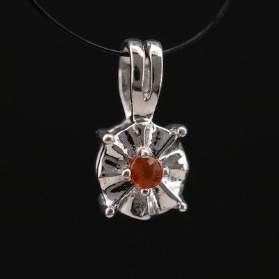 Sterling Fire Opal Pendant Necklace