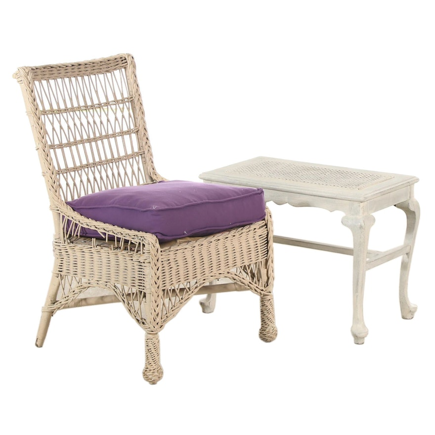 Wicker Chair and Painted Wooden Bench, 20th Century