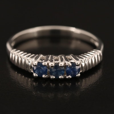Sterling Silver Sapphire Three Stone Ring with Fluted Shoulders