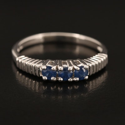 Sterling Sapphire Three Stone Ring with Fluted Shoulders