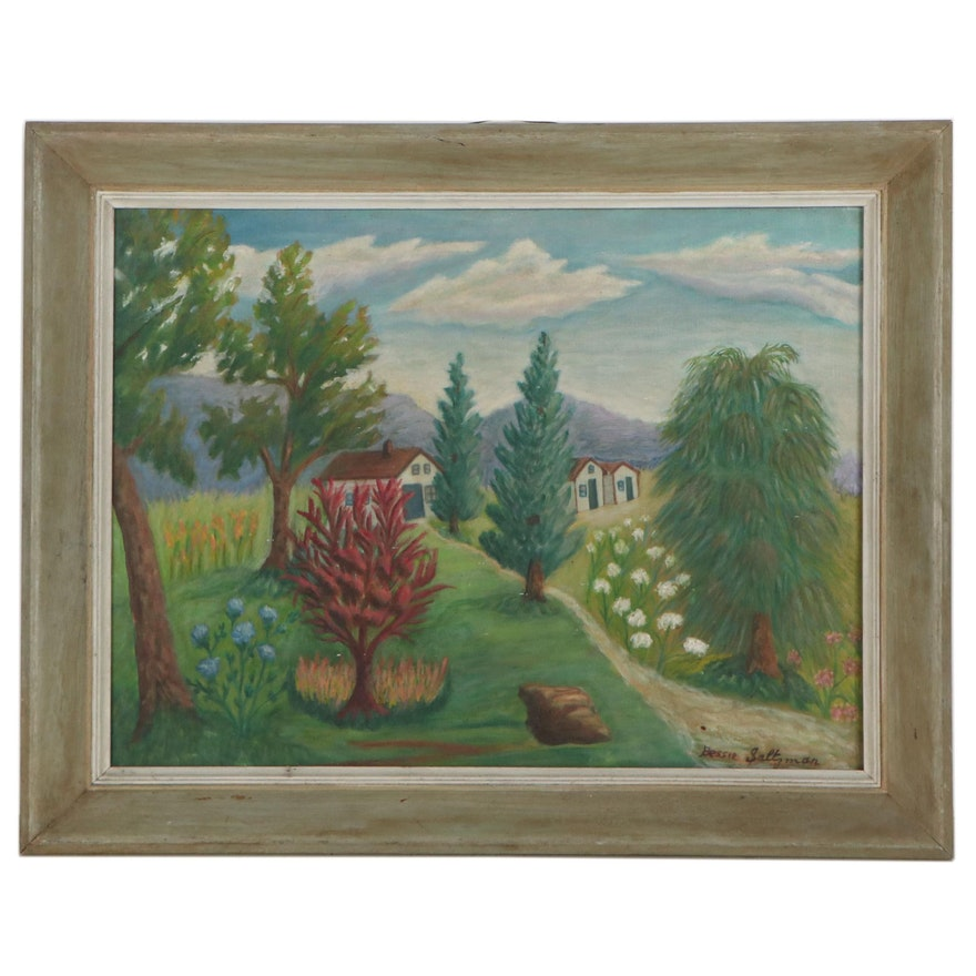 Bessie Saltzman Landscape Oil Painting, Circa 1960