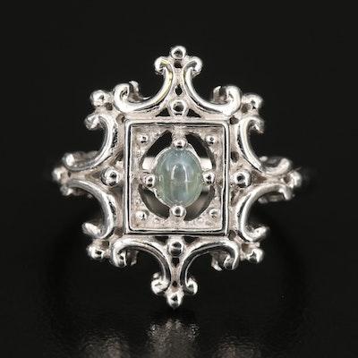 Sterling Cat's Eye Alexandrite Openwork Ring