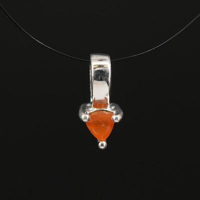 Sterling Fire Opal Pendant