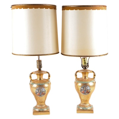 Pair of French Provincial Style Gilt Encrusted Porcelain Amphora Table Lamps