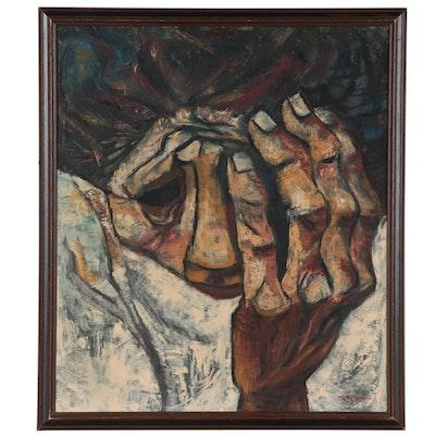Eduardo Kingman Oil Painting of Grieving Figure, 1968