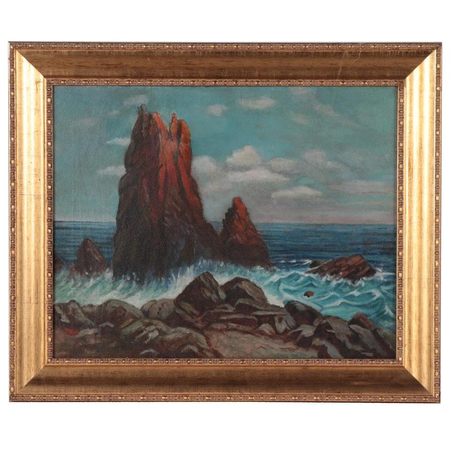 Rocky Coastal Scene Oil Painting