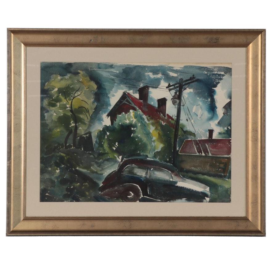 Urban Landscape Watercolor Painting, 1948