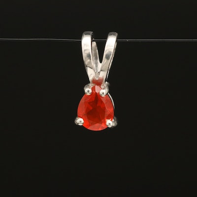 Sterling Silver Fire Opal Solitaire Pendant