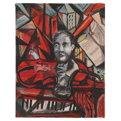 Jon Scharlock Collaborative Modernist Portrait Oil Painting