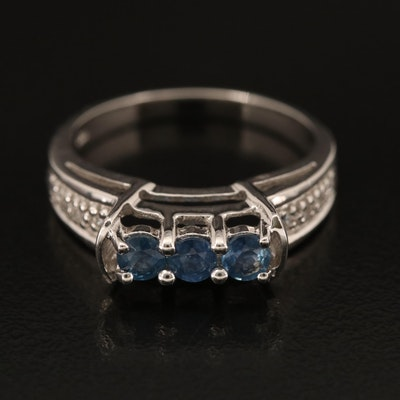 Sterling Sapphire and White Zircon Ring