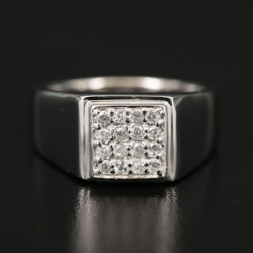 Sterling Zircon Ring with High Polish Finish
