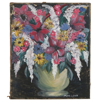Maclean Floral Still Life Oil Painting, Mid-20th Century