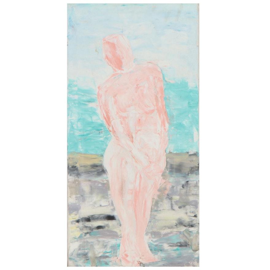 Jon Scharlock Abstract Figural Oil Painting, Late 20th Century