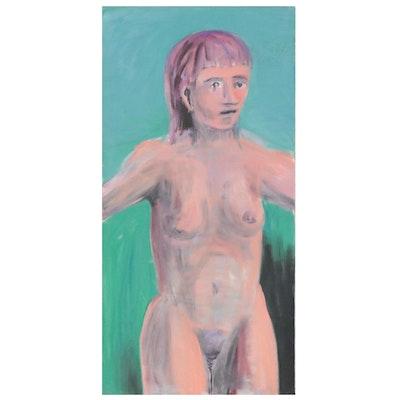 Jon Scharlock Nude Figural Oil Painting, Late 20th Century