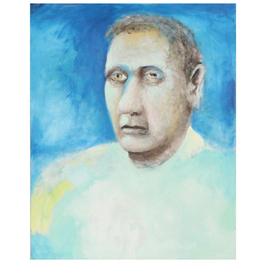 Jon Scharlock Portrait Oil Painting of Man, Late 20th Century