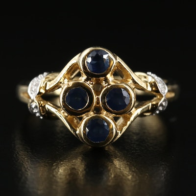 Sterling Sapphire Openwork Ring