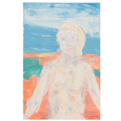 Jon Scharlock Figural Oil Painting, Late 20th Century