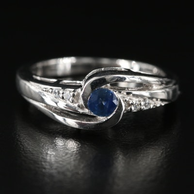 Sterling Sapphire and Zircon Spiral Ring