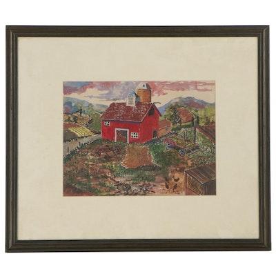 Farm Landscape Gouache Painting, Late 20th Century