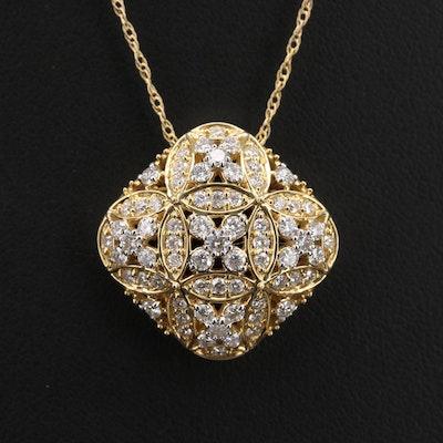 14K 1.19 CTW Diamond Flower Pendant Necklace