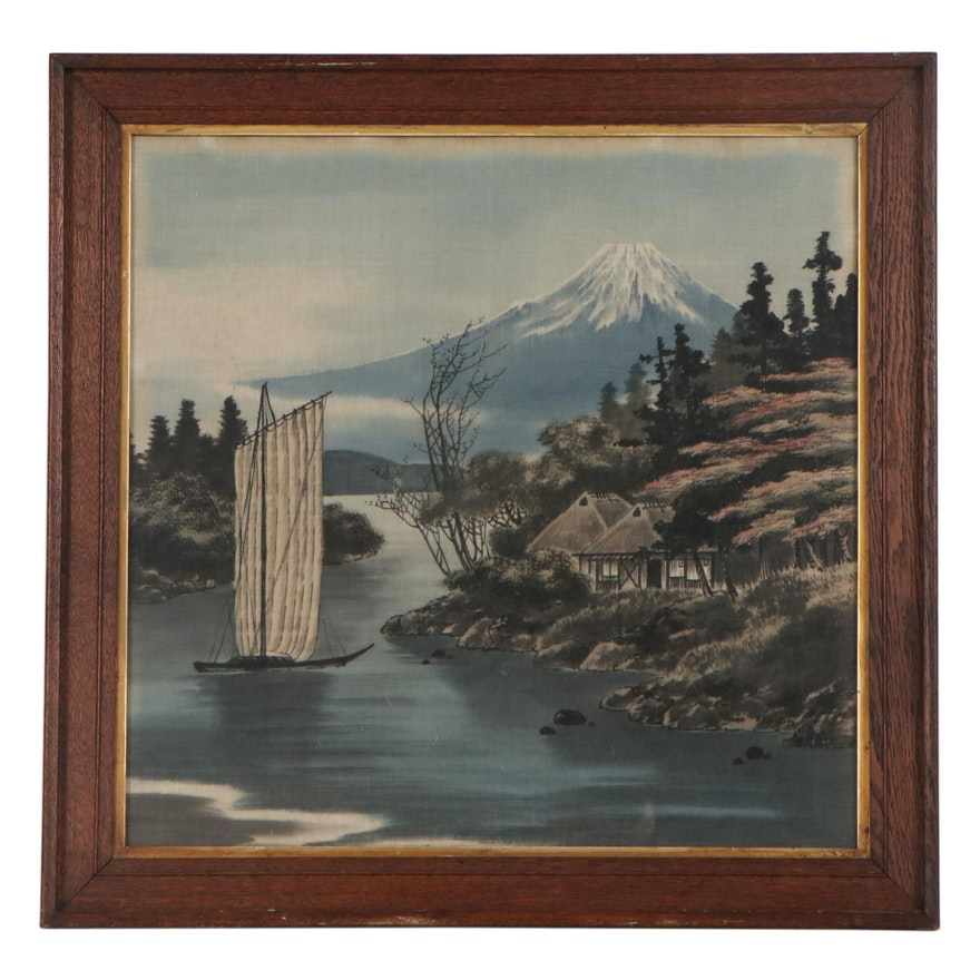 Japanese Style Watercolor Painting of Lakeside Scene, Late 20th Century