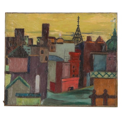 Abstract Cityscape Oil Painting, Mid-20th Century