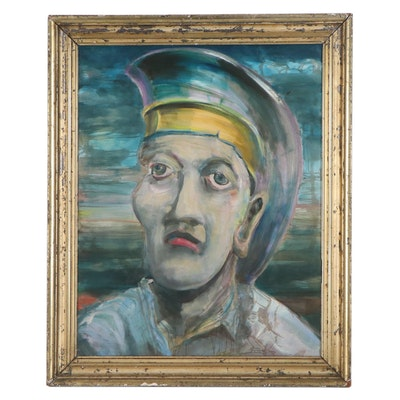 Jon Scharlock Abstract Oil Painting of Man, 2000