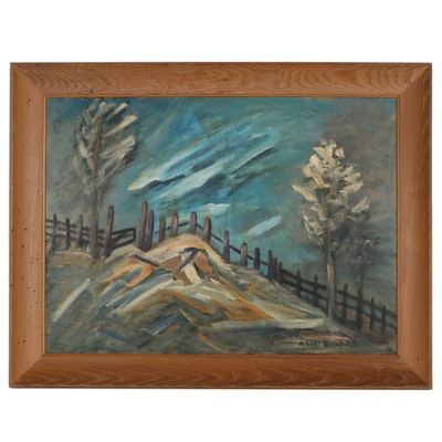 Albert Berne Abstract Landscape Oil Painting, Mid-20th Century