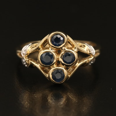 Sterling Sapphire Ring with Openwork Detail