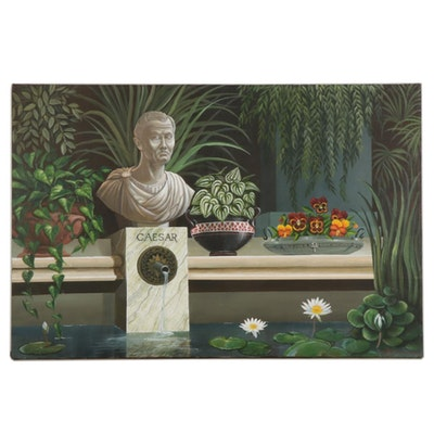 """Dorothea S. Wendlandt Still Life Oil Painting """"Caesar,"""" Circa 2000"""