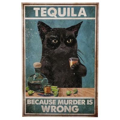 Black Cat Drinking Tequila Giclée, 21st Century