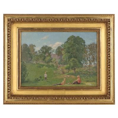 "Nikolai Efimovich Timkov Oil Painting ""Savoring the Summer"""