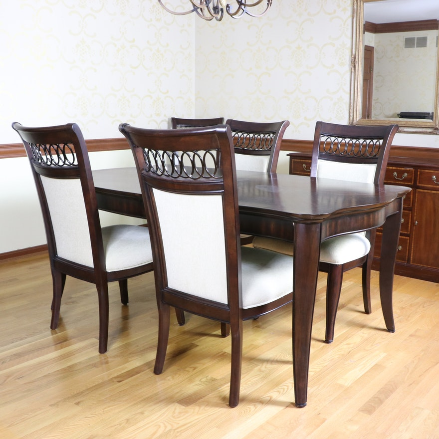 """Home Meridian """"Astor Park"""" Dark Cherry-Stained Dining Table and Chairs, 21st C."""