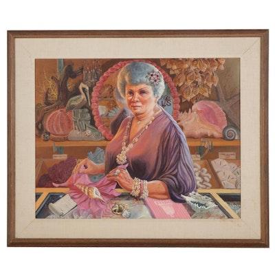 Dorothea S. Wendlandt Portrait Oil Painting of Souvenir Shop Owner