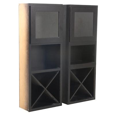 Two Custom-Made Ebonized Three-Tier Cabinets