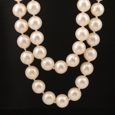 Semi-Baroque Pearl Double Strand Necklace with 14K Clasp