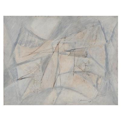 "Mixed Media Painting ""Morning Ice,"" 1959"