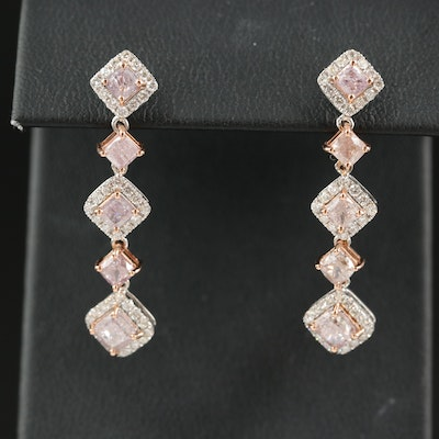 18K 3.74 CTW Diamond Earrings with Rose Gold Accents and GIA Report