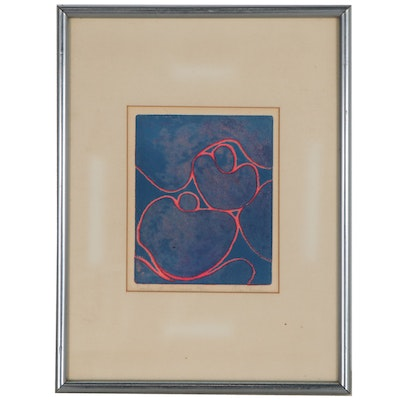 """Alan Koslin Abstract Relief Print """"Seeds of Silence,"""" Late 20th Century"""