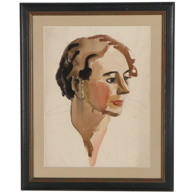 Watercolor Portrait Painting, Late 20th Century