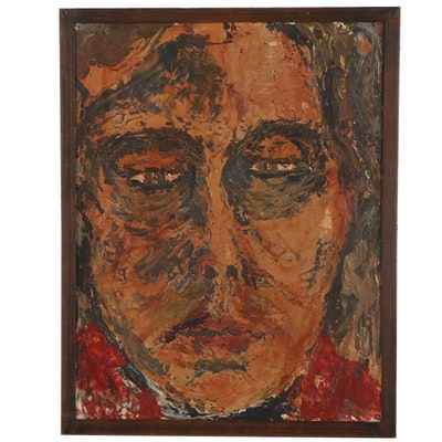 Impasto Oil Portrait, Late 20th Century