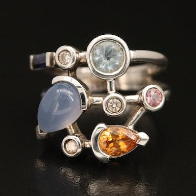 18K Mixed Gemstone and Diamond Ring