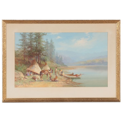 Victor Casenelli Gouache Painting of Native American Encampment
