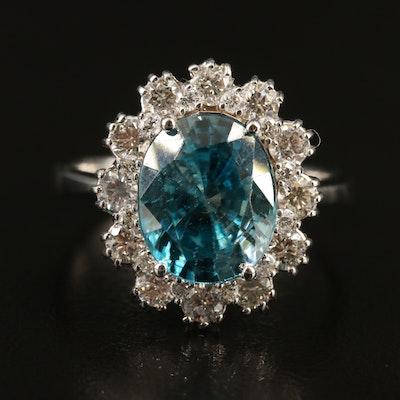 18K Zircon and 1.02 CTW Diamond Ring