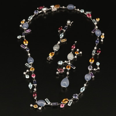 18K Mixed Gemstone and Diamond Necklace with Extender and Drop