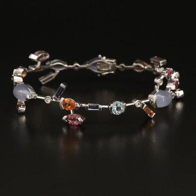 14K Mixed Gemstone and Diamond Bracelet