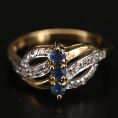 Sterling Sapphire and Zircon Ring