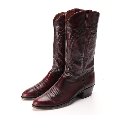 Men's Lucchese Leather Cowboy Boots with Top-Stitching