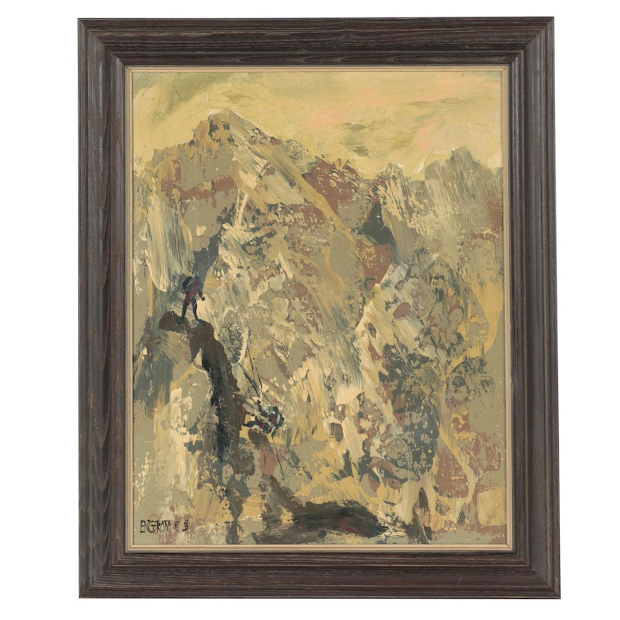 Martin Engström Abstract Oil Painting of Fighters on Cliff, Late 20th Century